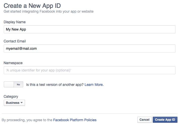 форма добавления приложения фейсбук